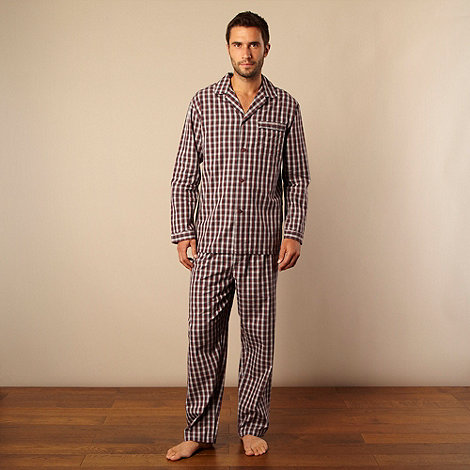 Maine New England - Wine checked pyjama set