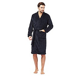 Maine New England - Big and tall navy textured striped fleece dressing gown