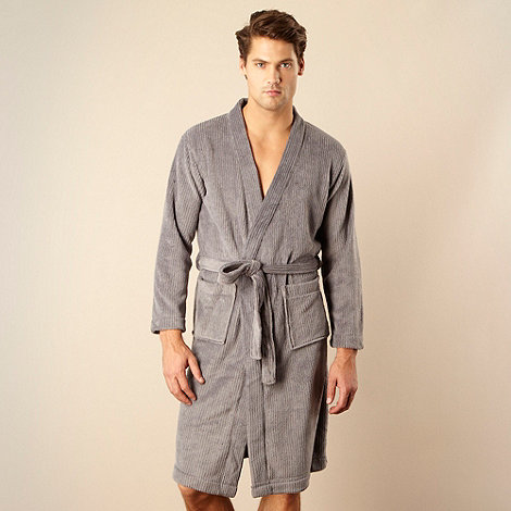 Maine New England - Grey ribbed fleece dressing gown