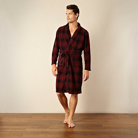 Maine New England - Wine checked lightweight fleece dressing gown