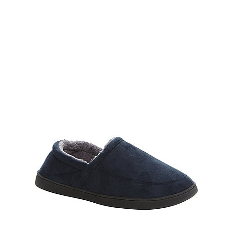 Maine New England - Navy suedette memory foam slippers