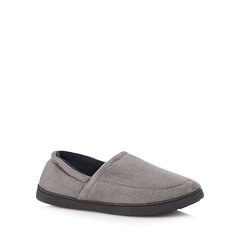 Maine New England - Grey suedette memory foam slippers