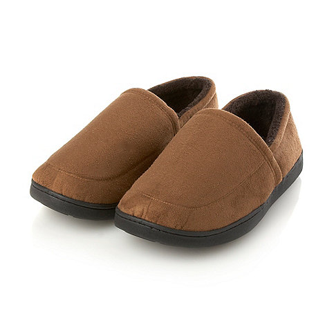 Maine New England - Tan microsuede memory foam slippers