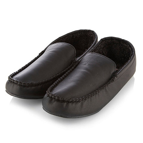 Weatherproof - Black borg lined moccasin slippers