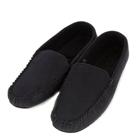 Maine New England - Black microsuede moccasin slippers