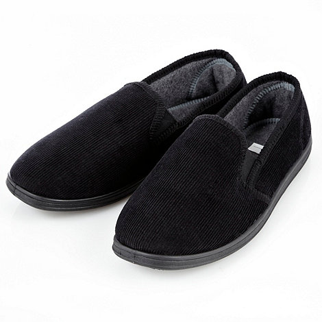 Maine New England - Black corduroy carpet slippers