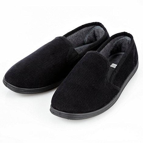 Maine New England - Black corduroy carpet slippers