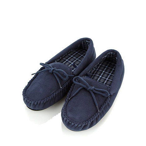 Maine New England - Navy faux suede moccasins