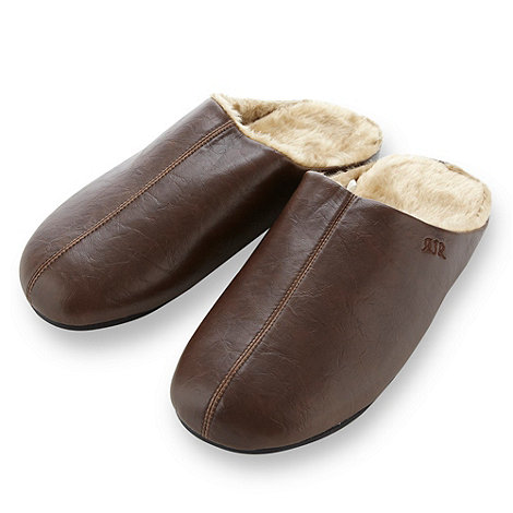 RJR.John Rocha - Designer brown faux fur lined mule slippers