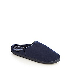Totes - Navy fleece lined 'Pillowstep' mule slippers
