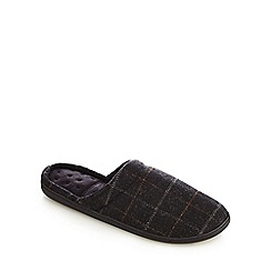 Totes - Grey checked print 'Pillowstep' mule slippers