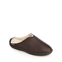 Totes - Dark brown 'Pillowstep' sherpa mule slippers