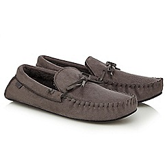 Totes - Grey moccasin slippers in a gift box