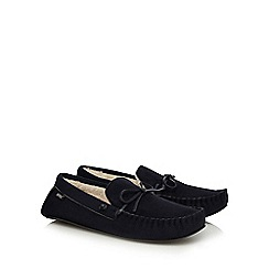 Totes - Navy moccasin slippers in a gift box