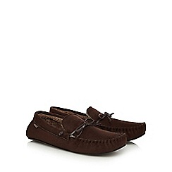 Totes - Dark brown moccasin slippers in a gift box
