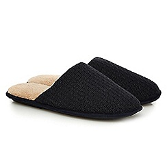 Totes - Navy textured memory foam mule slippers in a gift box
