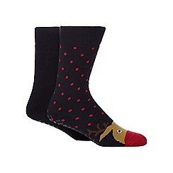 Totes - Pack of two navy reindeer print slipper socks