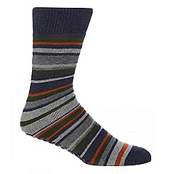 Totes - Multi-coloured striped print slipper socks