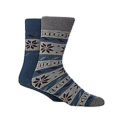 Totes - Pack of two assorted Fair Isle-inspired print slipper socks