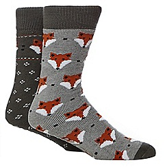 Totes - Pack of two assorted fox print slipper socks
