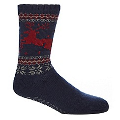 Totes - Navy Fair Isle-inspired slipper socks