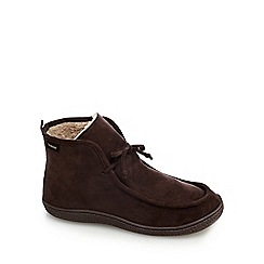 Totes - Chocolate brown moccasin slipper boots