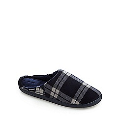 Totes - Navy fleece check print slippers