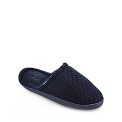 Totes - Navy textured knit slippers