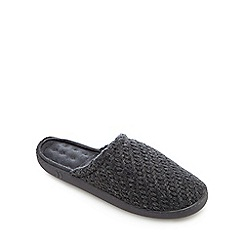 Totes - Grey textured knit slippers