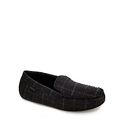 Totes - Grey check print moccasin slippers