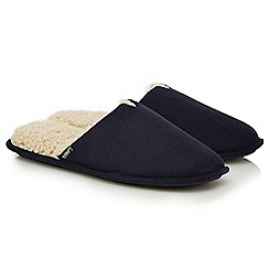 Totes - Navy memory foam mule slippers in a gift box