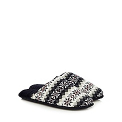 Totes - Navy Fair Isle-inspired mule slippers in a gift box