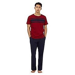 Tommy Hilfiger - Red striped print yoke pyjama top