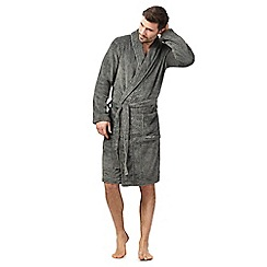 Calvin Klein - Grey fleece belted dressing gown