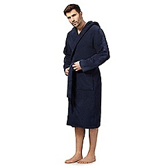 Calvin Klein - Navy hooded towelling dressing gown