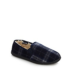 Maine New England - Navy 'Thinsulate' check pattern slippers
