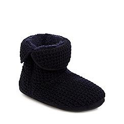 Mantaray - Navy waffle knit slipper boots