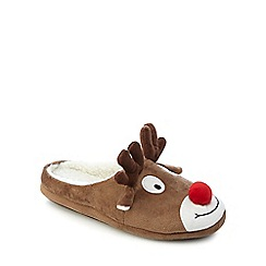 Mantaray - Brown reindeer slippers
