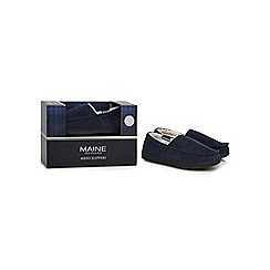 Maine New England - Navy textured slippers in a gift box