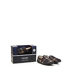 Maine New England - Grey wool blend checked slippers in a gift box
