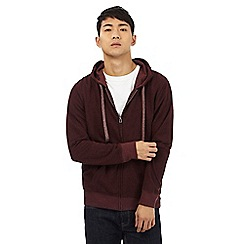 Red Herring - Dark red zip through hoodie