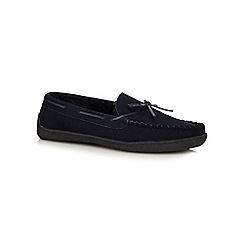 RJR.John Rocha - Navy suede moccasin slippers in a gift box