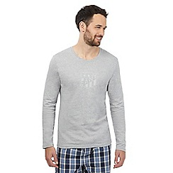 Gant - Grey logo print long sleeved t-shirt