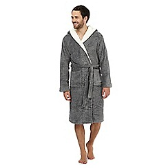 RJR.John Rocha - Big and tall grey sherpa hooded dressing gown