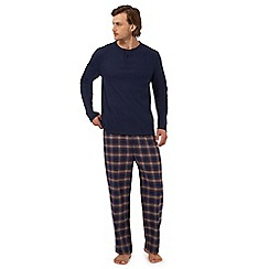 Maine New England - Navy long sleeved top and checked trousers loungewear set