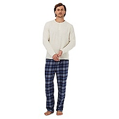 Maine New England - Big and tall cream long sleeved top and checked trousers loungewear set