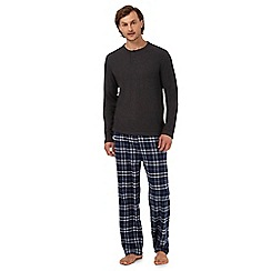 Maine New England - Big and tall grey long sleeved top and checked trousers loungewear set
