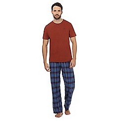 Mantaray - Big and tall orange checked loungewear set