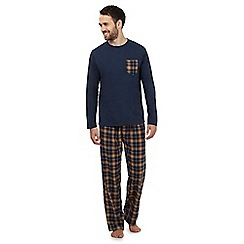 Mantaray - Big and tall navy checked loungewear set