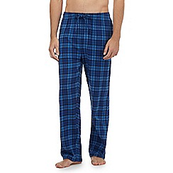 Mantaray - Big and tall pack of two blue checked loungewear bottoms